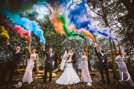 2016 wedding trend, smoke bomb photographs, wedding party, reception, ceremony, unique ideas